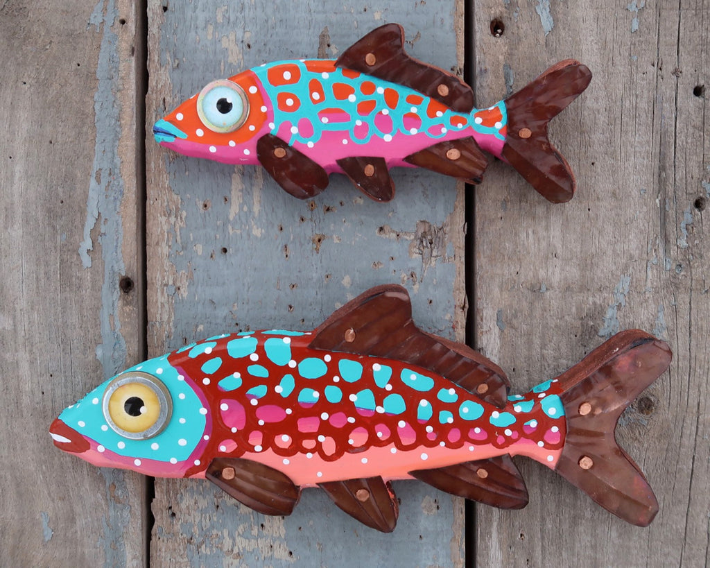 Frida, Whimsical Fun Colorful Folk Art Fish Wall Art, Hand-painted Wood and Copper Minnow Sculpture, Made in Vermont