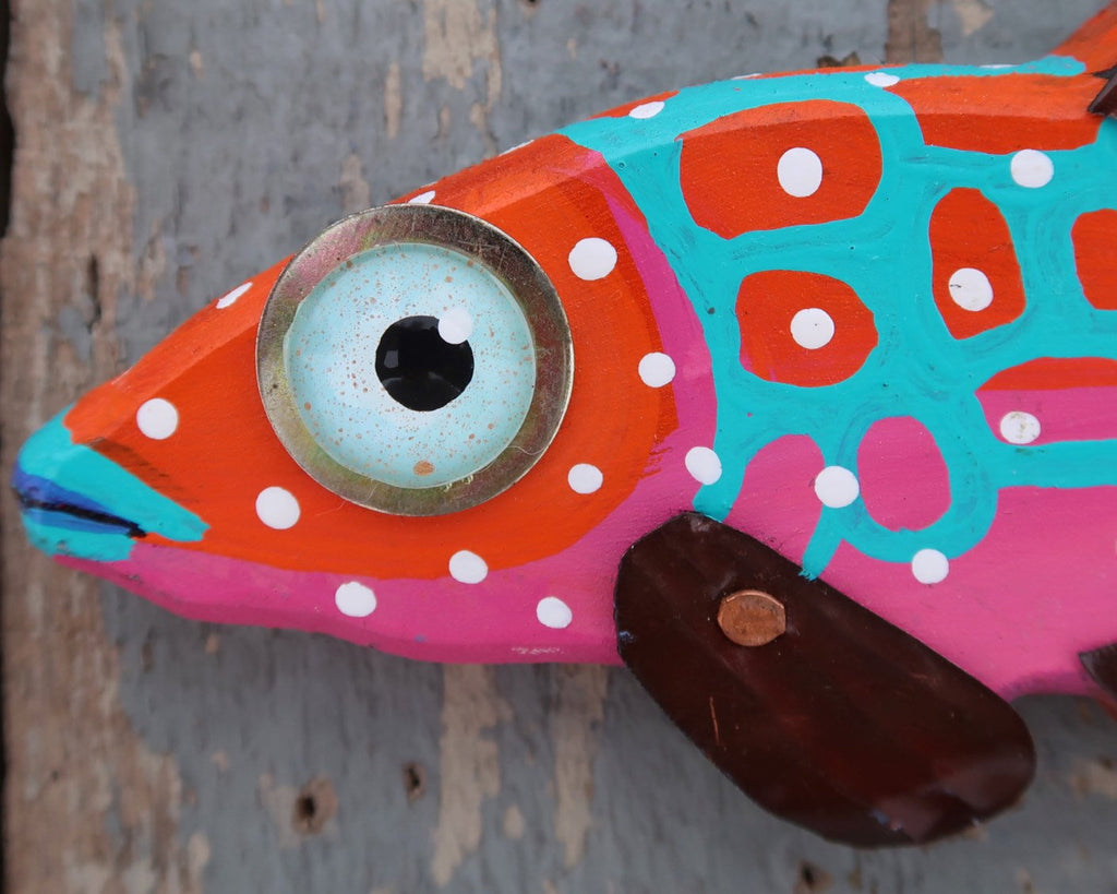 Izzy, Whimsical Fun Colorful Folk Art Fish Wall Art, Hand-painted Wood and Copper Minnow Sculpture, Made in Vermont