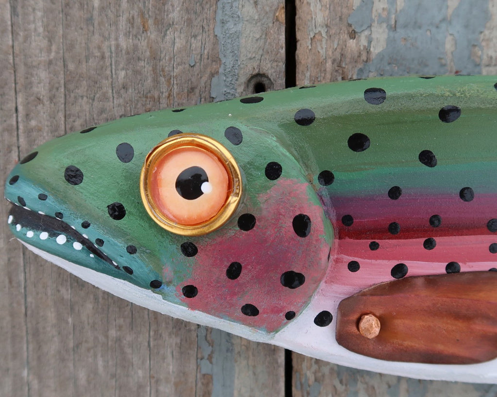Darby, Rainbow Trout Fish Wall Sculpture, Original Wood and Copper Folk Art Fish Art, Made in Vermont, Lake and Lodge Decor, Minnow