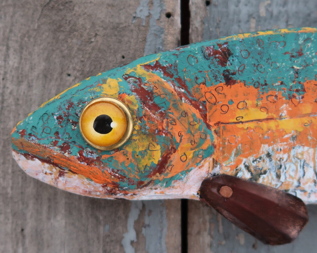 Milo, Rustic Textural Trout Minnow,Folk Art Fish Wall Sculpture,Hand-painted Wood and Copper Fish, Abstract Art, Lake and Lodge Decor