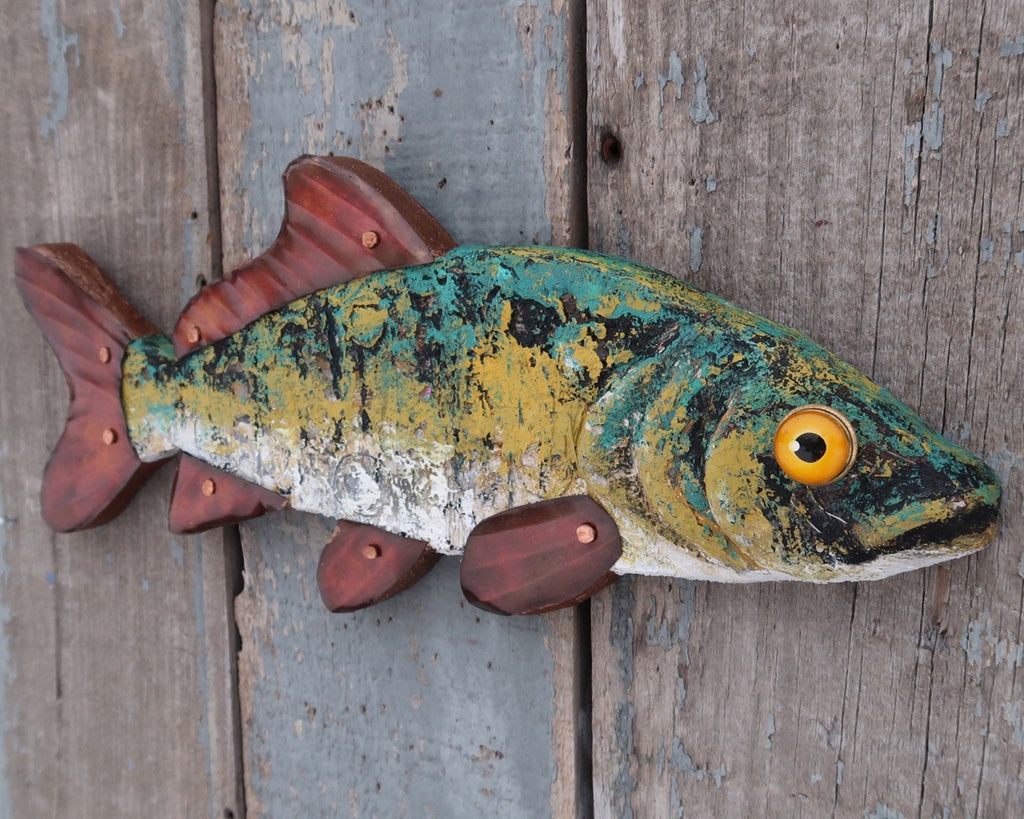 Marco, Rustic Textural Minnow,Folk Art Fish Wall Sculpture,Hand-painted Wood and Copper Fish, Abstract Art, Lake and Lodge Decor