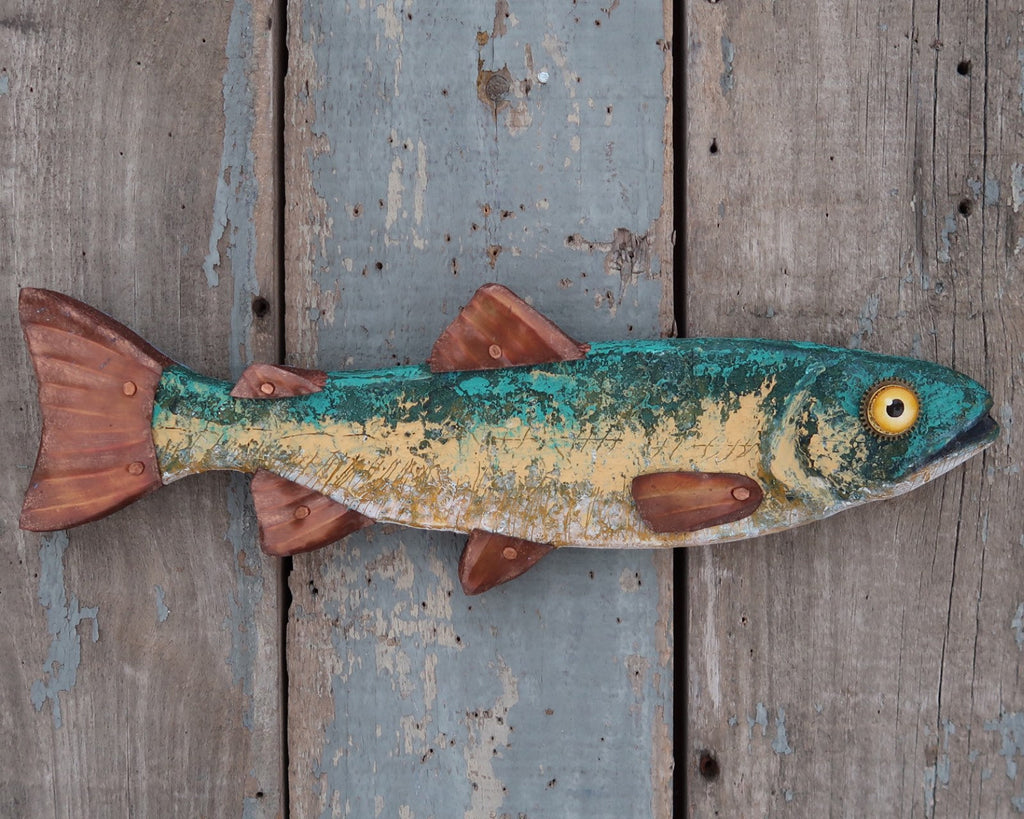 Shilo, Rustic Textural Trout Minnow,Folk Art Fish Wall Sculpture,Hand-painted Wood and Copper Fish, Abstract Art, Lake and Lodge Decor