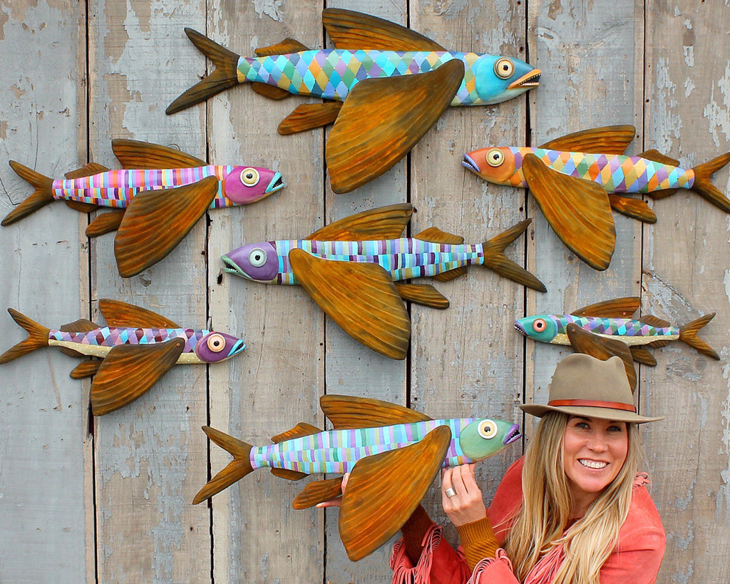 Dolly, Colorful Flying Fish Folk Art, Original Hand-Painted Wood and Clay Wall Sculpture, Coastal Decor, Fun Fish Art