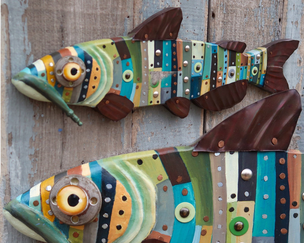 Sky, Eclectic Catfish Wall Art, Original Hand painted Wood Copper and Metal Folk Art Fish, Made in Vermont, Lake and Lodge Decor