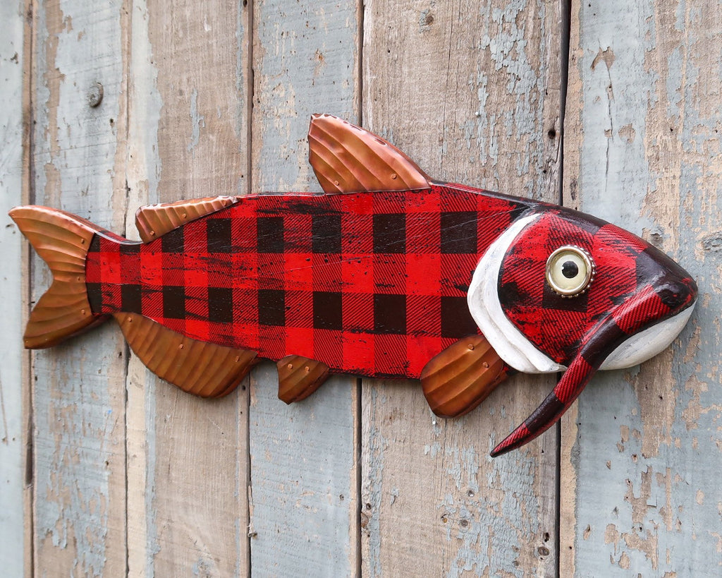 Maxwell, Handsome Carved Catfish in Buffalo Plaid, Wood and Copper Folk Art Fish Wall Art, Lake and Lodge Decor