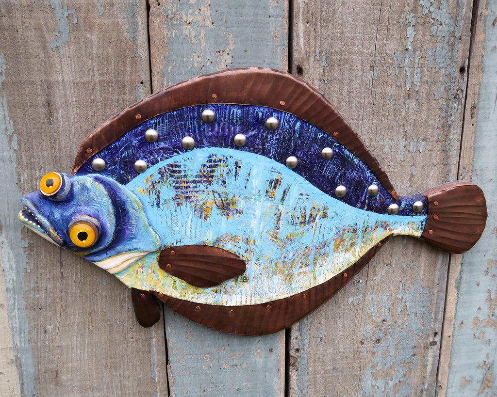 Fiona , Colorful Flounder Folk Art Fish Wall Art, Whimsical Hand-painted Wood and Copper Sculpture, Coastal Decor, Fun Fish Art