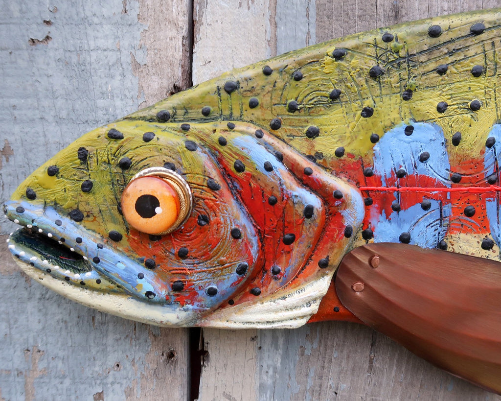 Hunter, Colorful Colorado Cutthroat Trout Wall Sculpture, Encaustic Wood and Copper Folk Art Fish, Beautiful Texture, Lake and Lodge Decor