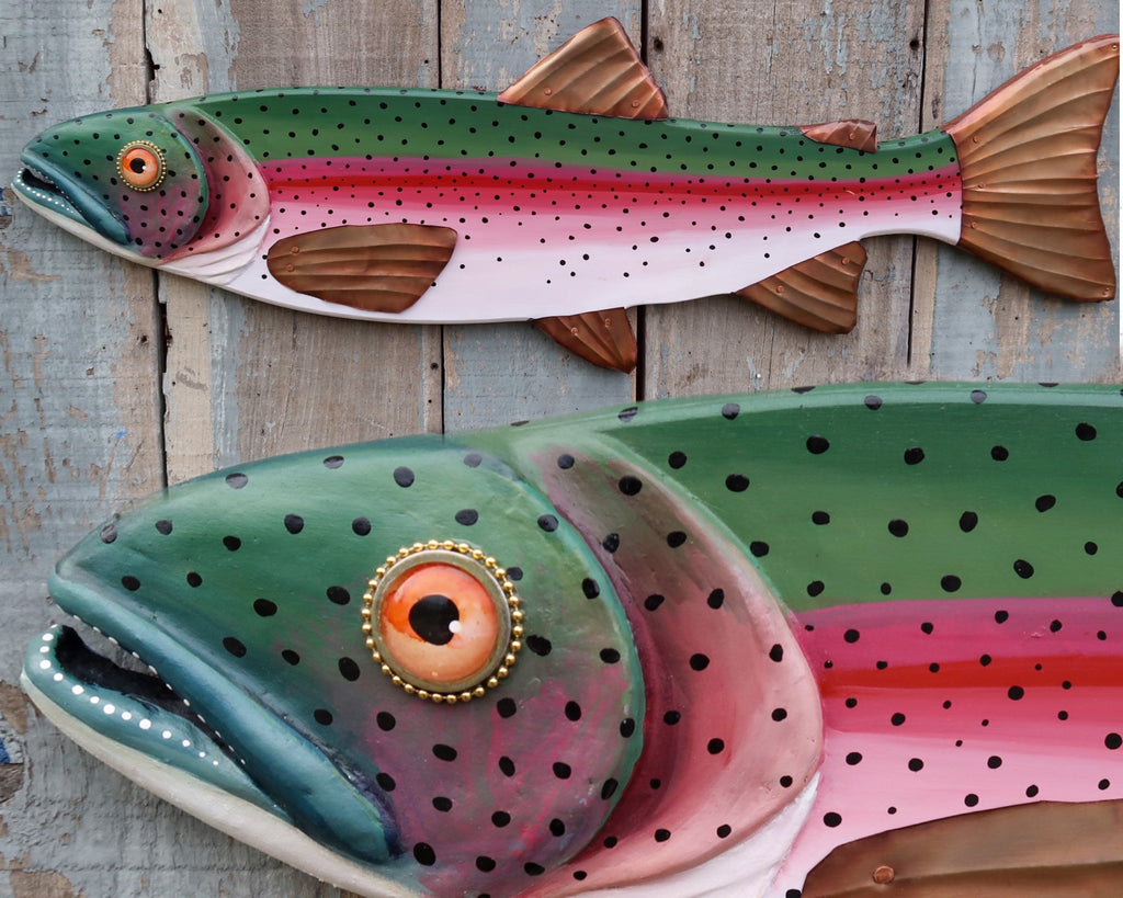 "Randy, Original Rainbow Trout Folk Art Fish Wall Art 37"", Hand Painted Wood and Copper Sculpture, Made in Vermont, Lake and Lodge Decor"