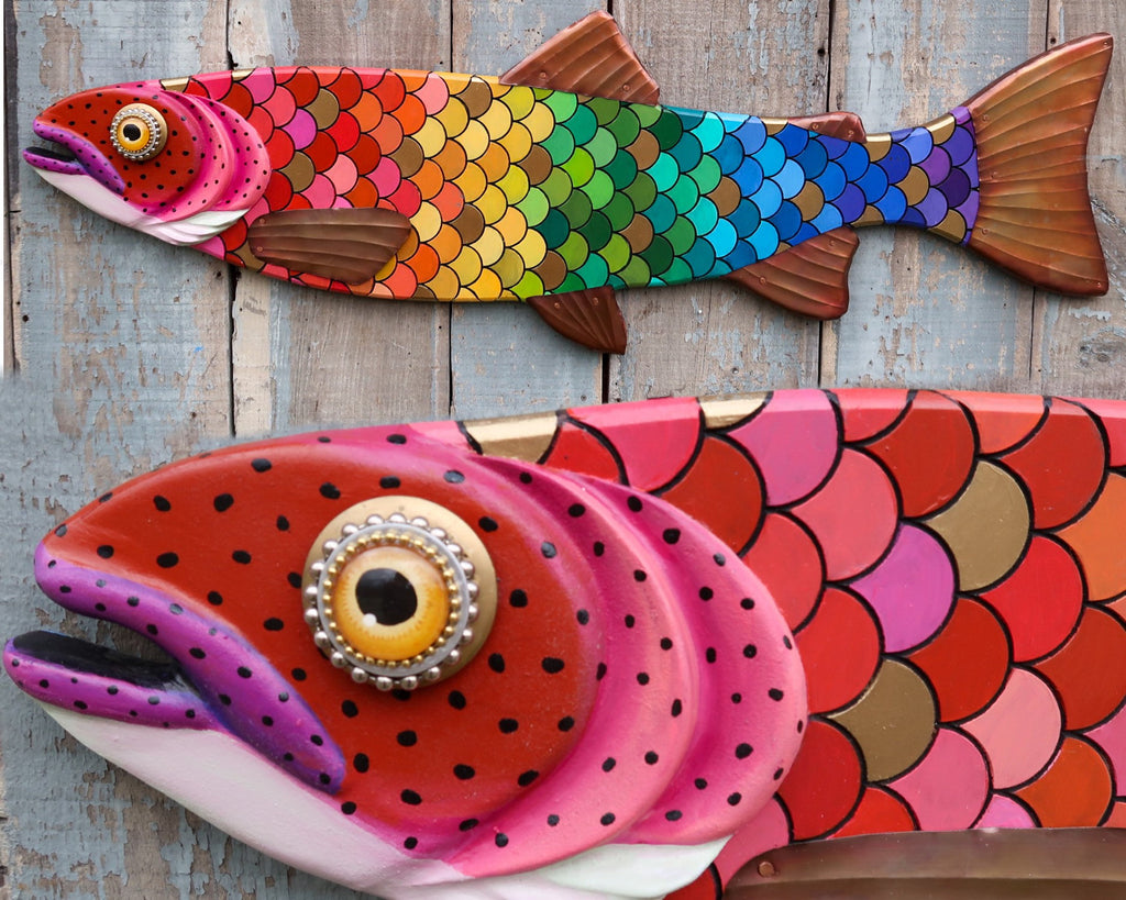 "Althea, 47"" Large Rainbow Trout, Colorful Folk Art Wood and Copper, Folk Art Fish Wall Art, Pride"