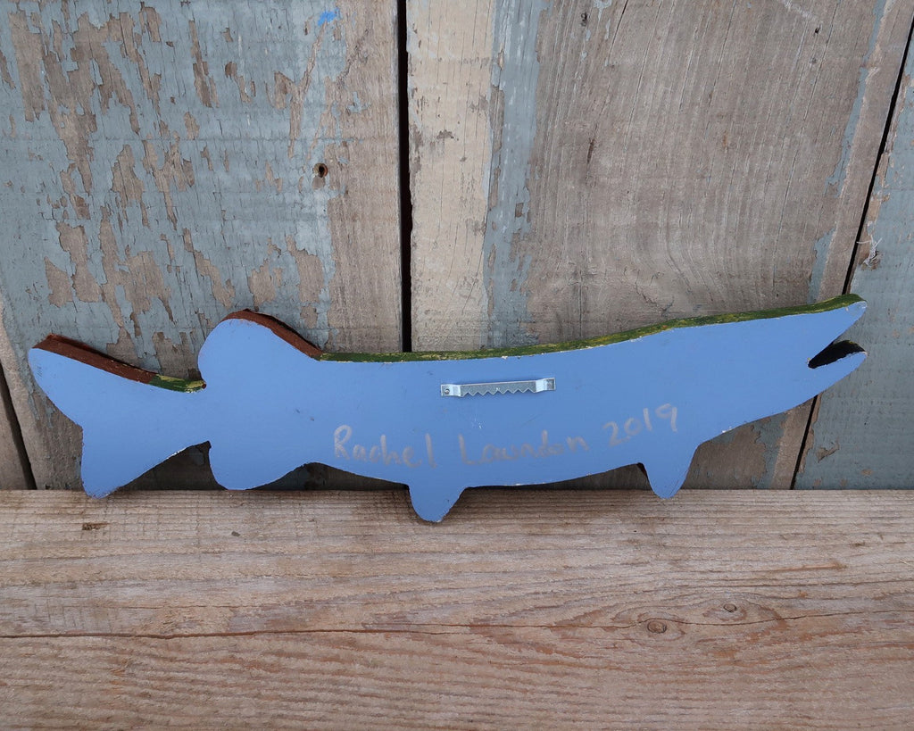 Phillip, Rustic Textural Pike Minnow,Folk Art Fish Wall Sculpture,Hand-painted Wood and Copper Fish, Abstract Art, Lake and Lodge Decor