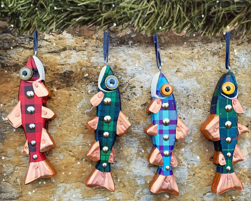 "7"" Plaid Tree Trout Ornaments, Hand crafted Wood and Copper Folk Art Fish Sculpture, Choose your Plaid, Merry Fishmas"