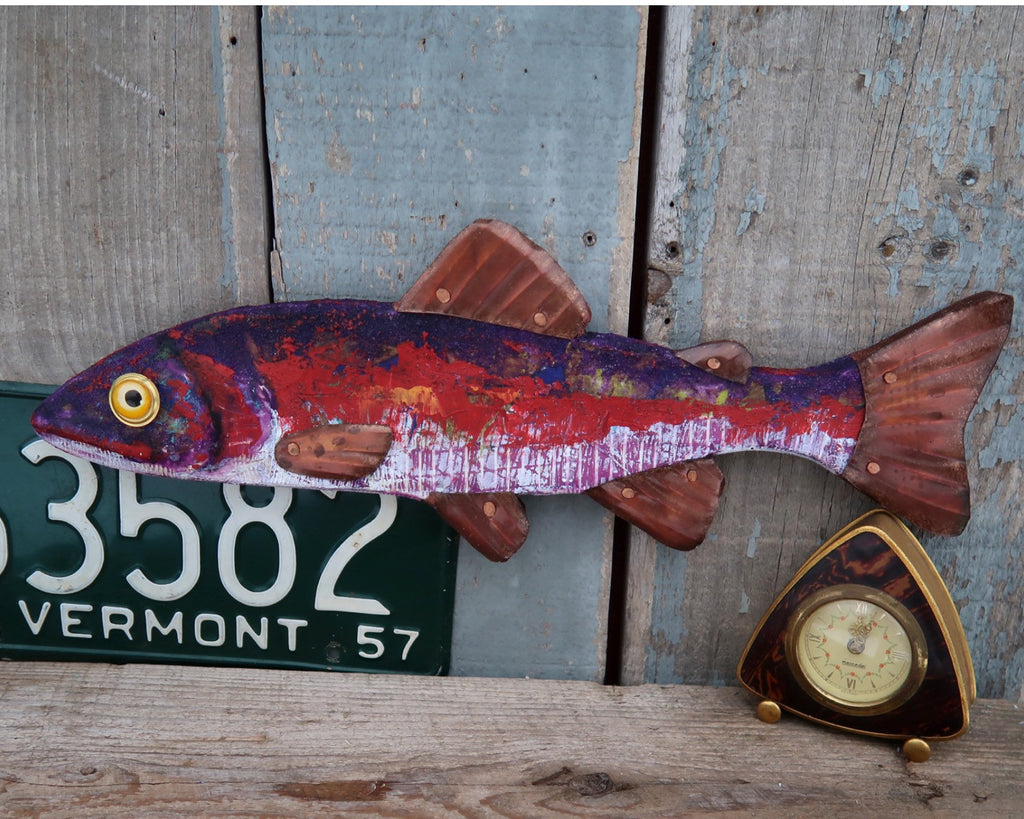 Lex, Rustic Textural Trout Minnow,Folk Art Fish Wall Sculpture,Hand-painted Wood and Copper Fish, Abstract Art, Lake and Lodge Decor