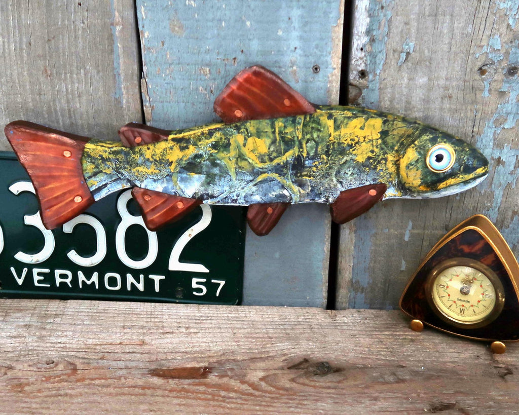 Amos, Rustic Textural Trout Minnow,Folk Art Fish Wall Sculpture,Hand-painted Wood and Copper Fish, Abstract Art, Lake and Lodge Decor