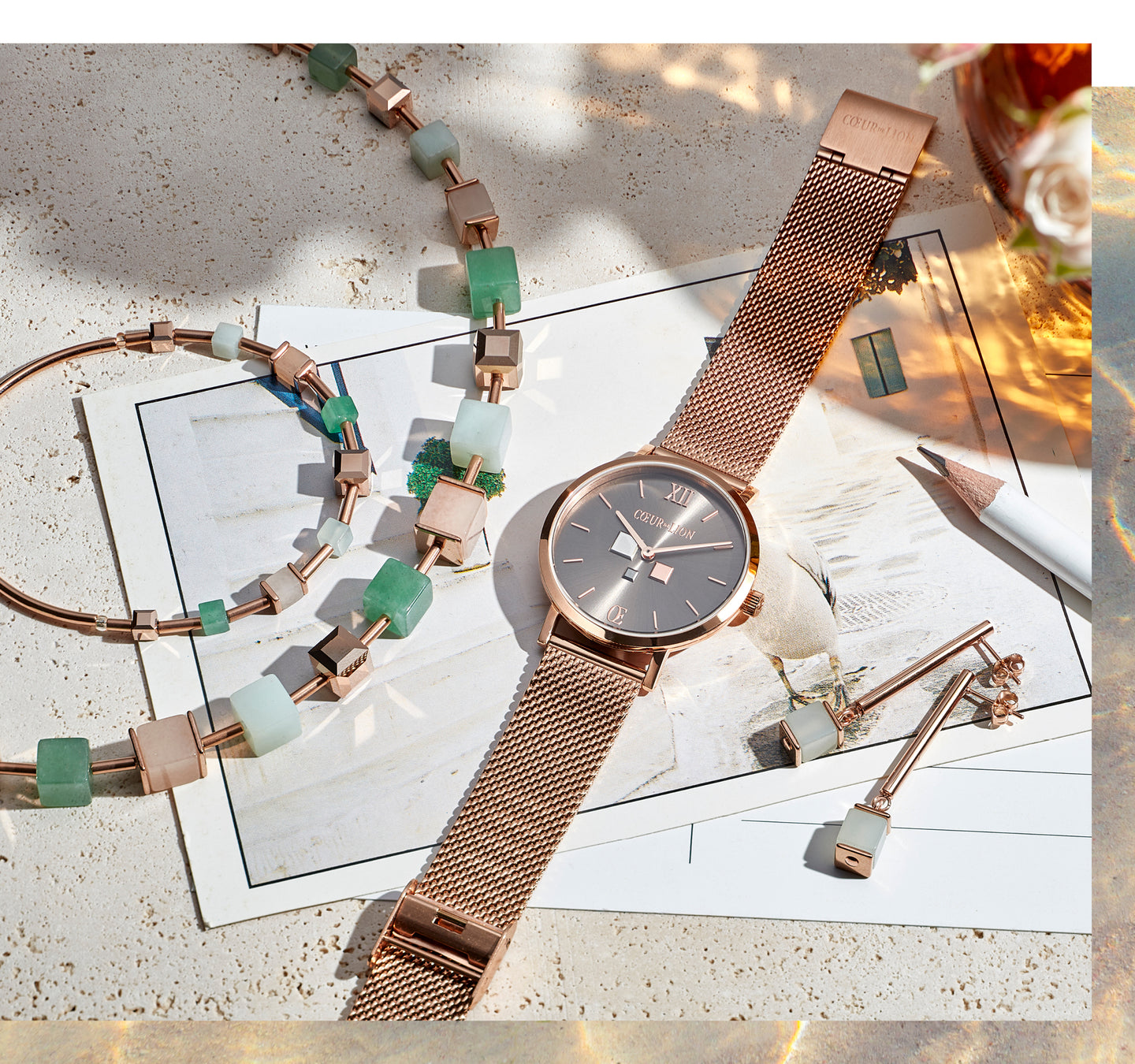Montre Ronde Mocca Sunray Milanaise Acier Inoxydable Or Rose Combination