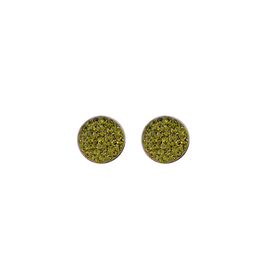 Earrings rhinestone pave olive
