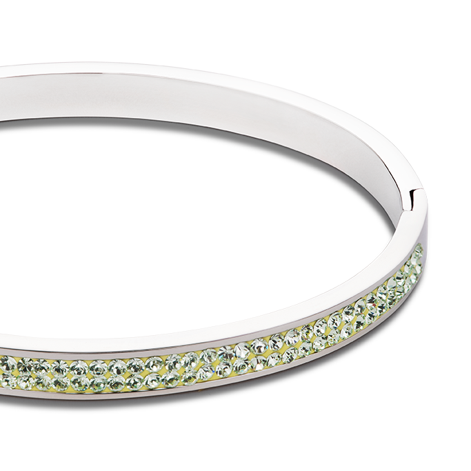 Bangle stainless steel & crystals pavé light green
