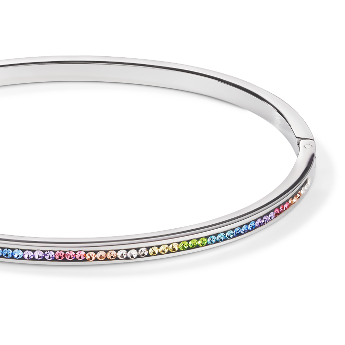 Bangle stainless steel & crystals pavé multicolour pastel