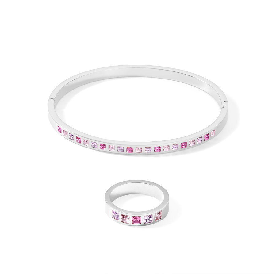 Bangle stainless steel silver & square crystals pavé multi-rose 17