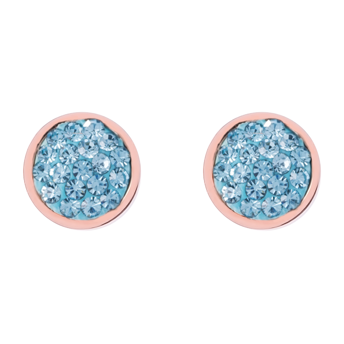 Earrings stainless steel rose gold & crystals pavé aqua