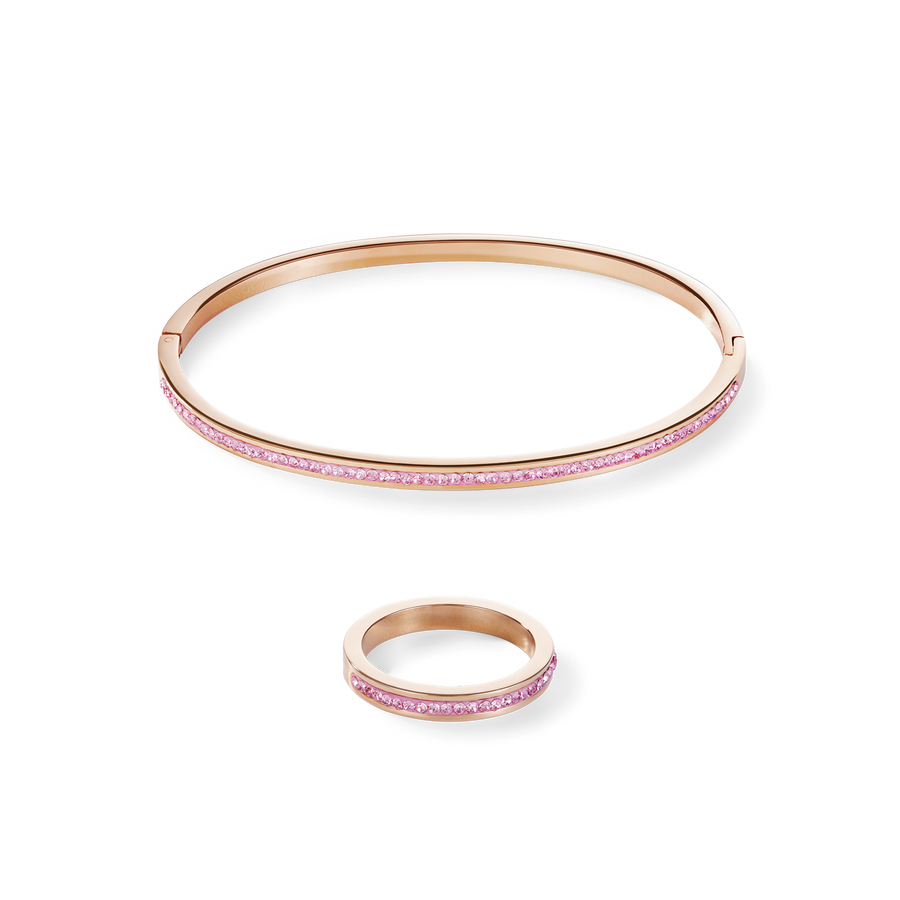 Bangle slim stainless steel rose gold & crystals pavé light rose