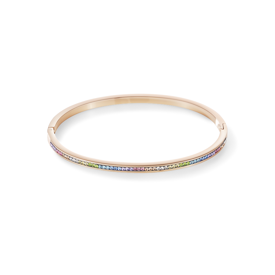 Bangle slim stainless steel rose gold & crystals pavé multicolour pastel