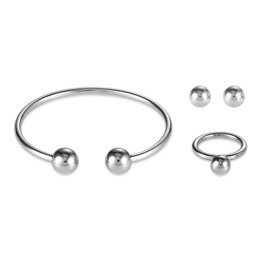 Bangle stainless steel balls silver