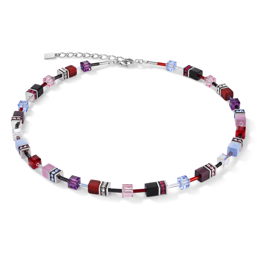 Collier GeoCUBE® mauve-rouge-blue