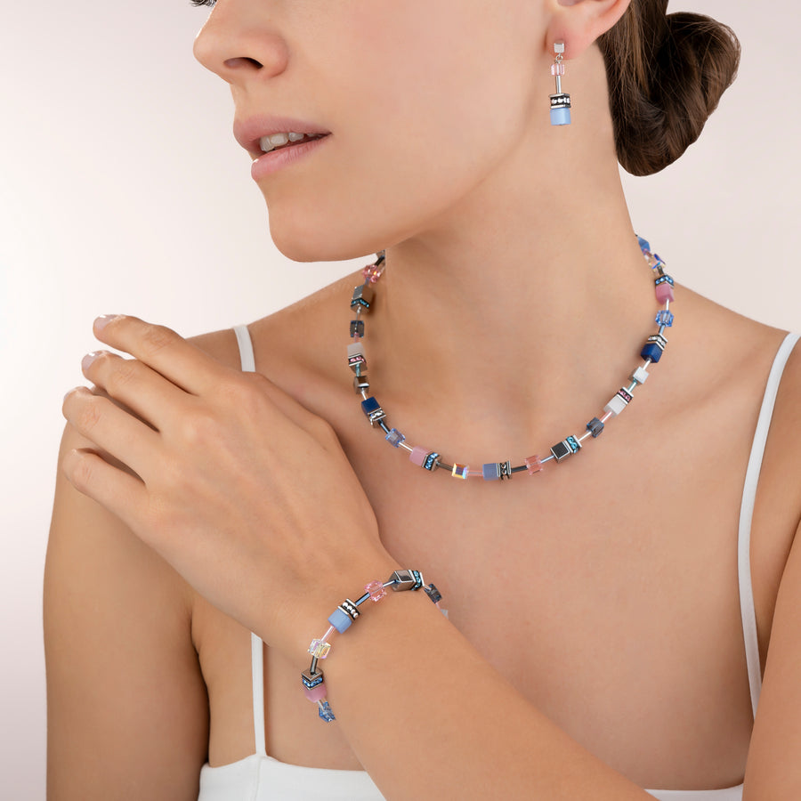 Collier GeoCUBE® bleu-rose