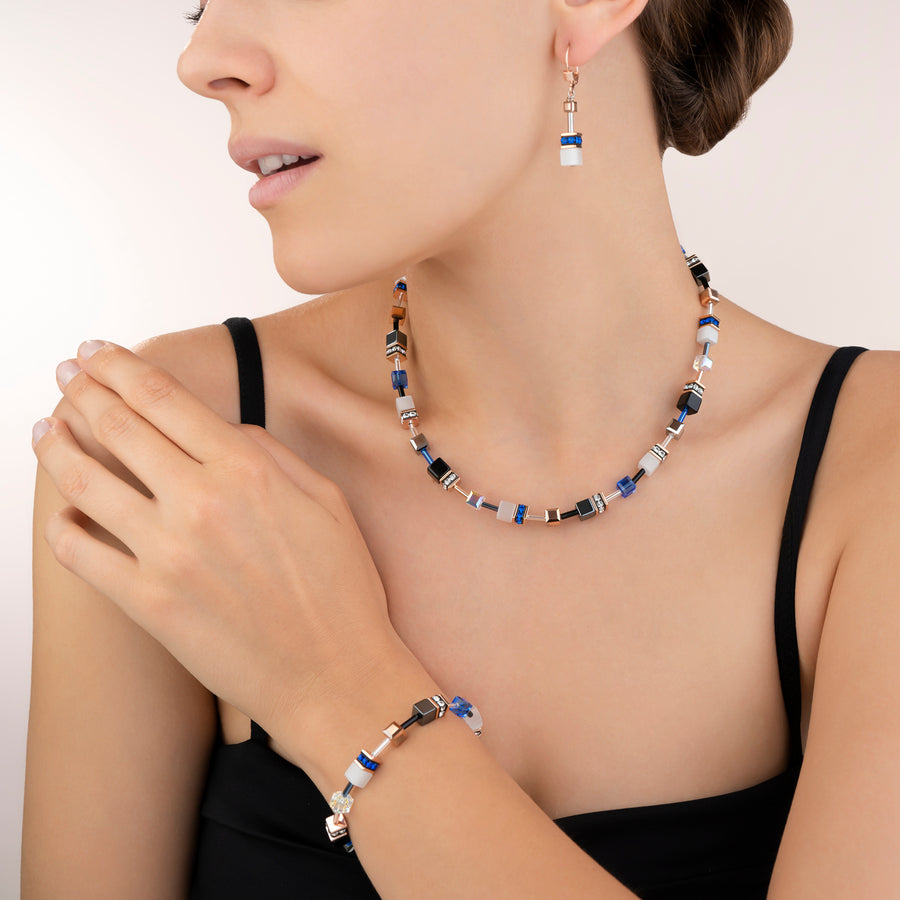 Collier GeoCUBE® or rose, blanc & bleu