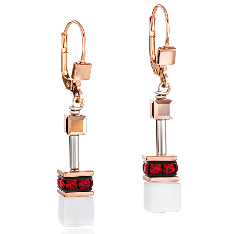 Boucles d'oreille GeoCUBE® or rose, blanc & rouge