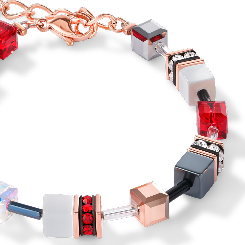 Bracelet GeoCUBE® or rose, blanc & rouge