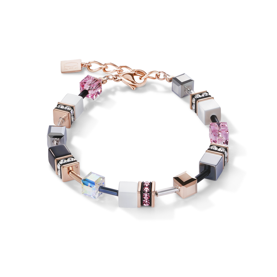 Bracelet GeoCUBE® or rose, blanc & rose clair