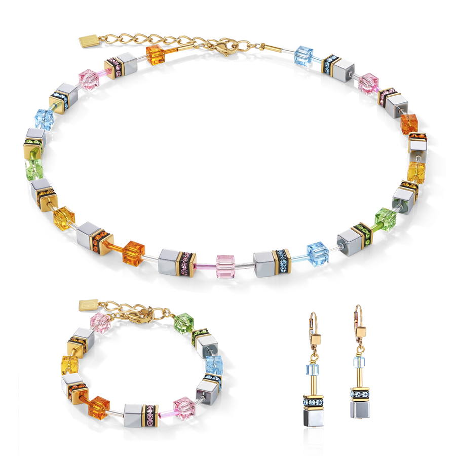 Boucles d'oreille GeoCUBE® multicolore pastel