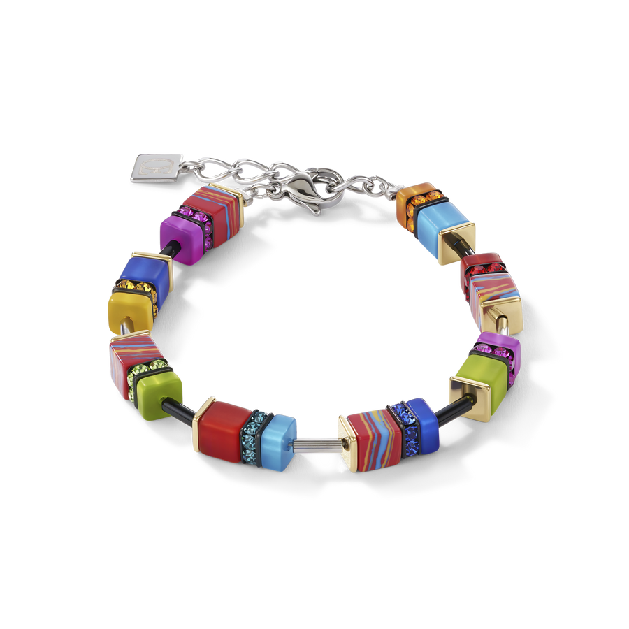 Bracelet GeoCUBE® malachite multicolore or