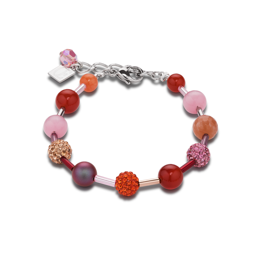 Bracelet serti de cristaux & agate & onyx orange-rose