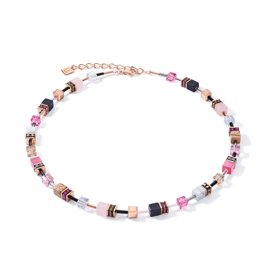 Necklace GeoCUBE® Swarovski® Crystals & Gemstones rose-beige