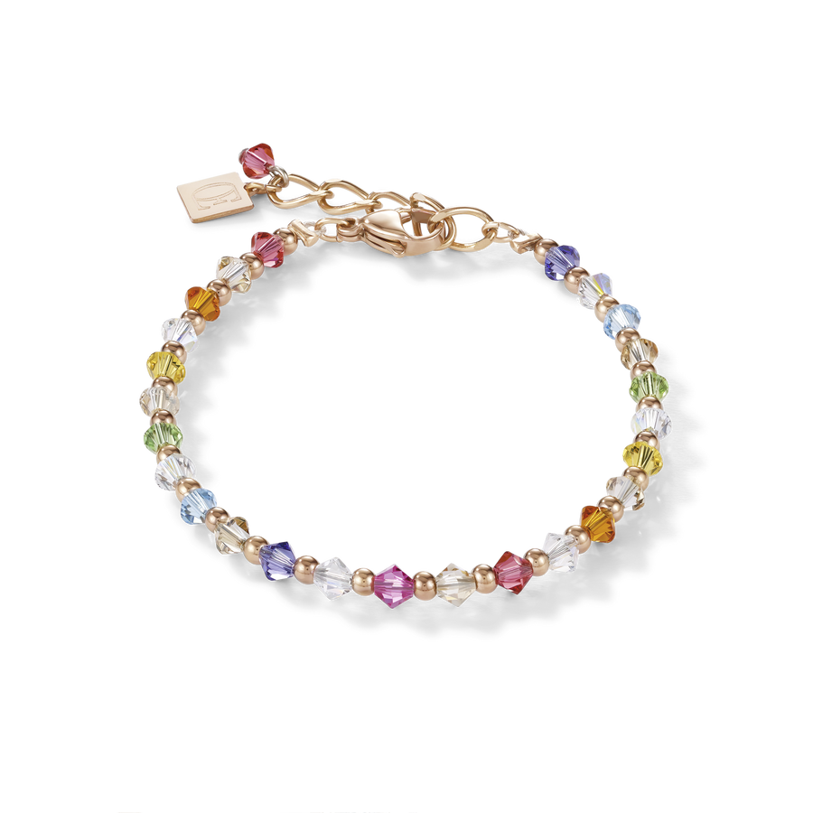 Bracelet Cristaux Swarovski® & acier inoxydable or rose multicolore pastel