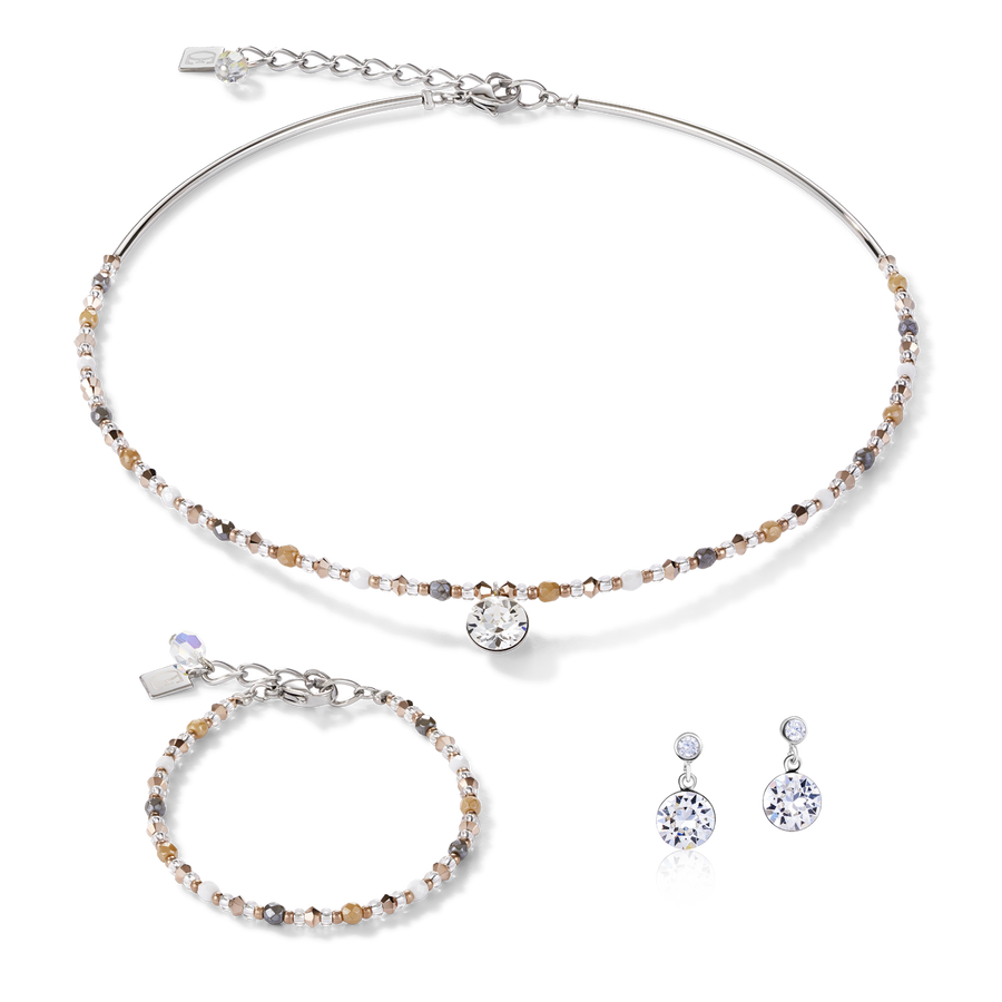 Collier Cristaux Swarovski® & acier inoxydable multicolore nature