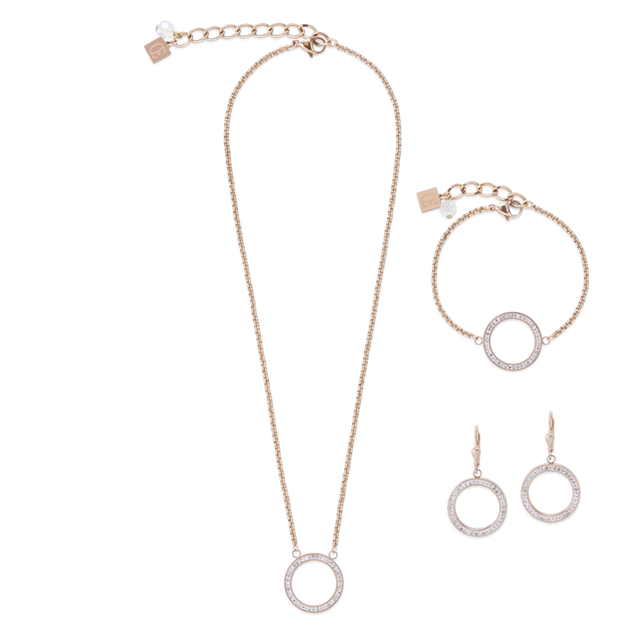 Necklace Ring Crystals pavé & stainless steel rose gold & crystal