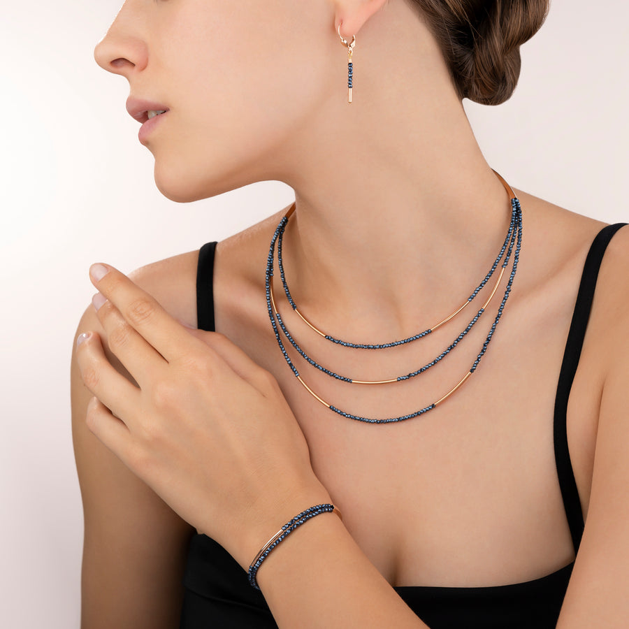 Collier Cascade acier inoxydable or rose & verre anthracite