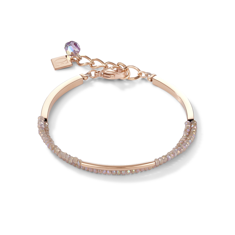 Bracelet Waterfall stainless steel rose gold & glass nude