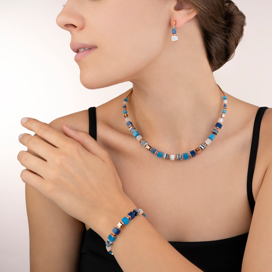 Necklace GeoCUBE® Crystals pavé, synthetique malachite & Swarovski® Crystals blue-turquoise