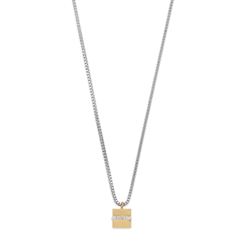 Necklace Cube stainless steel gold & crystals pavé crystal