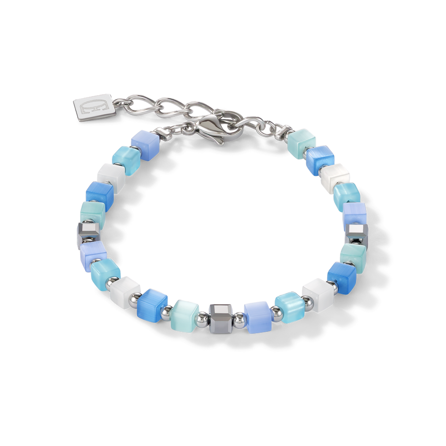 Bracelet GeoCUBE® small synthetic tiger's eye & Swarovski® Crystals blue-turquoise