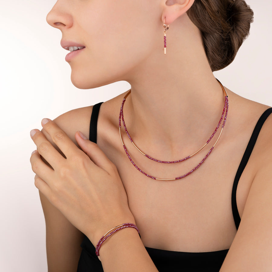 Collier Cascade small acier inoxydable or rose & verre rouge