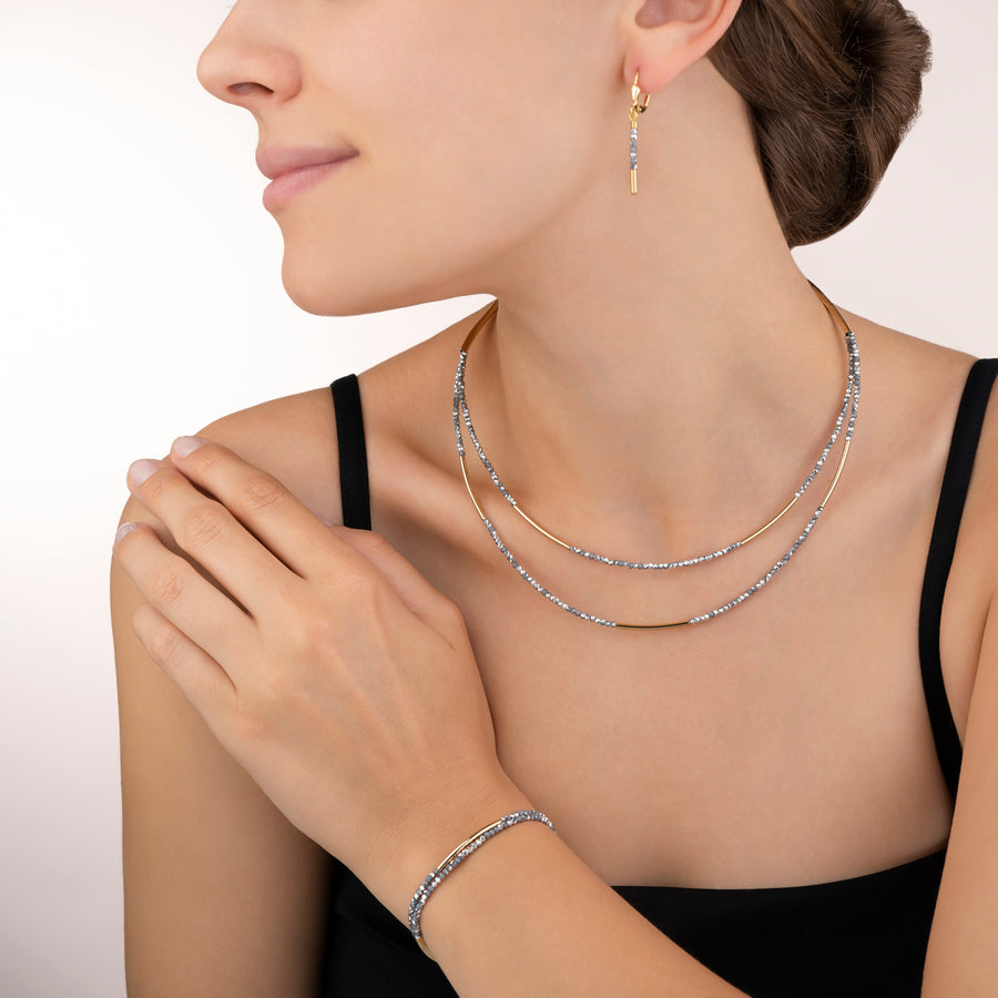 Collier Cascade small acier inoxydable or & verre argent