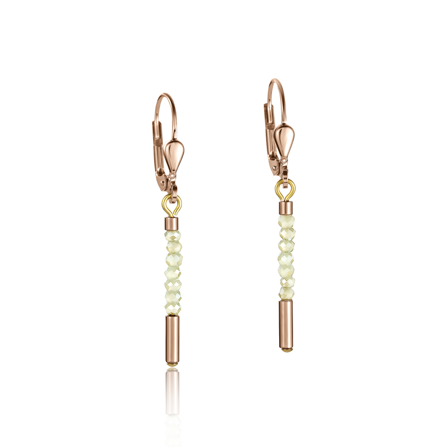Boucles d'oreille Cascade small acier inoxydable or rose & verre vert clair