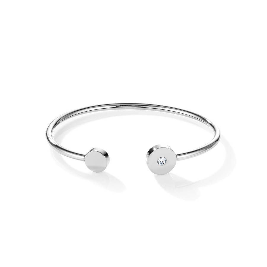 Bangle SparklingCOINS stainless steel silver