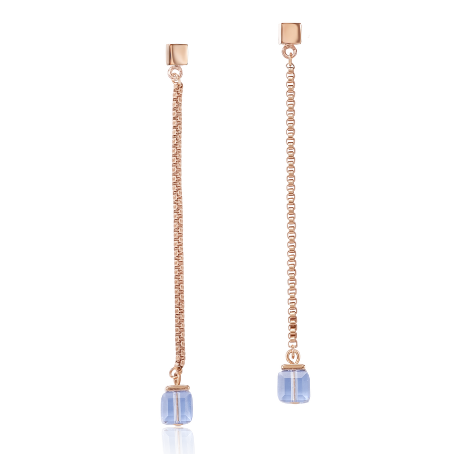 Earrings Stainless Steel rose gold & Swarovski® Crystals light blue