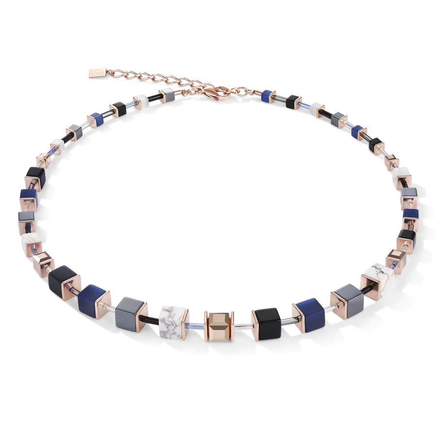 Collier GeoCUBE® bleu-or rose